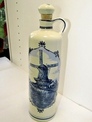 DELFT BLUE Windmill BOLS Holland Vintage BOTTLE DECANTER w/ Cork Stopper BLUE