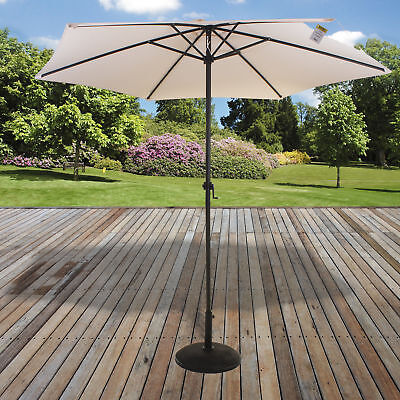2.7M Parasol Outdoor Garden Patio Sunshade Crank Handle Aluminium Round Umbrella