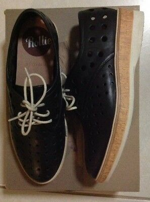 Rollie Black Leather Derby shoes size 37 (6) Brand New RRP $169.95