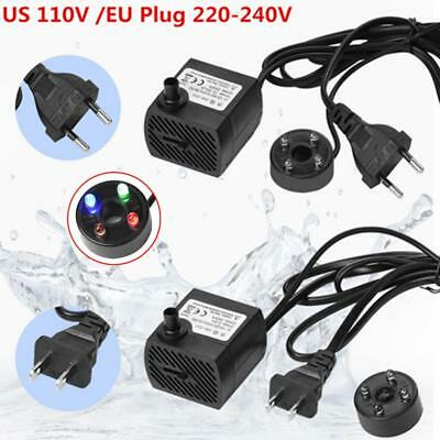 LED Light Submersible Water Pump Aquariums Fish Pond Fountain Sump Waterfall 5W