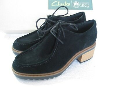 New Clarks Balmer Willow Soft Black Suede Shoes Various Sizes  D Fit
