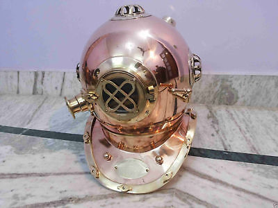 "18 "" Maritime U.S Navy Diversa Scuba Mark V Brass Solid Copper Diving Helmet"