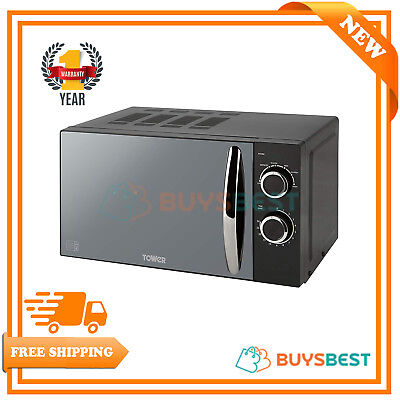 Tower Elements 800W 20L Solo Manual Microwave With Mirror Door In Black T24009N
