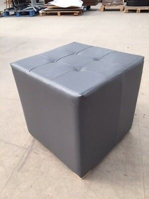 NEW cube stool grey faux leather fabric restaurant bar club pub