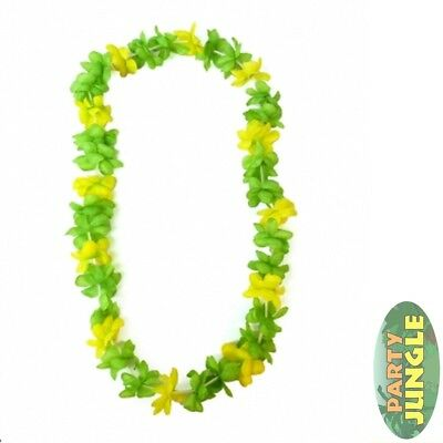 NEON GREEN HAWAII TROPICAL LUAU HULA BEACH PARTY LEI - unisex fancy dress