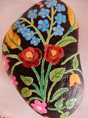 Hand Painted Rock Art GYPSY Floral Flowers by Tammy Stone Art Paperweight Gift