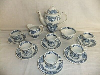 C4 Pottery Ridgway Staffordshire - Windsor Blue Coffee Service 16 pieces 8D5A