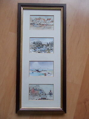 4 Ken Lochhead Miniature Watercolour Prints of Scottish Scenes in One Frame