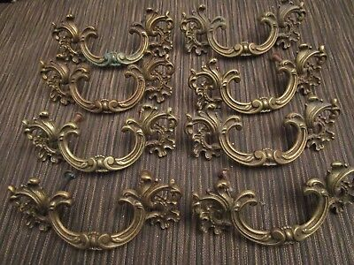 Estate 8 Antique French Provincial Drawer Dresser Pulls Brass #8637 NICE