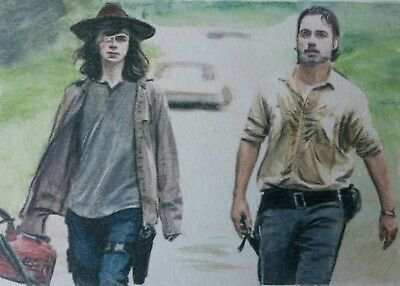 Double 3.5 x 5 Original Carl and Rick Grimes The Walking Dead aceo watercolour