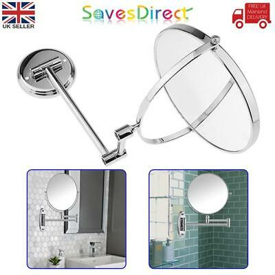 """8"""" Wall Mounted Double Sided Chrome Mirror Magnifying Extending Shave Make-up"""