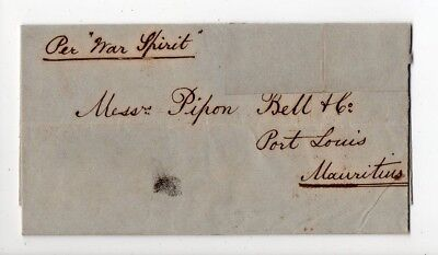1859 India To Mauritius Cover, War Spirit Steamer, Ship Letter Red Pmk