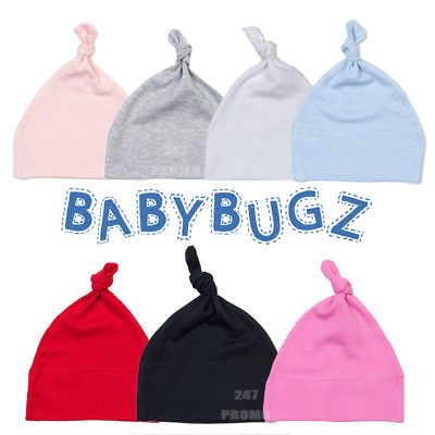 Baby Knot Hat Summer Beanie Newborn Soft Touch Cotton Plain Colours 0-18 Months