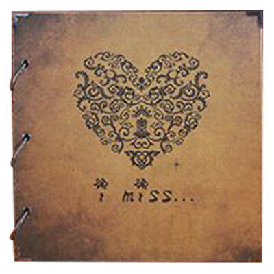 2X(Vintage Heart Shape DIY Diary Photo Image Album Gift Scrapbook Memory Lo G7Y5