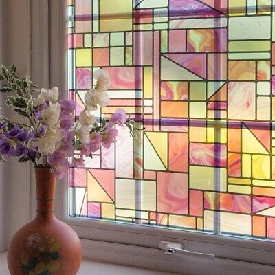 d-c-fix Static Cling Vinyl Window Film Stained Glass Madras Pink 67.5cm x 1.5m