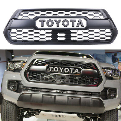 Front Bumper Hood Grille Grill Black For Toyota Tacoma TRD PRO 2016 2017