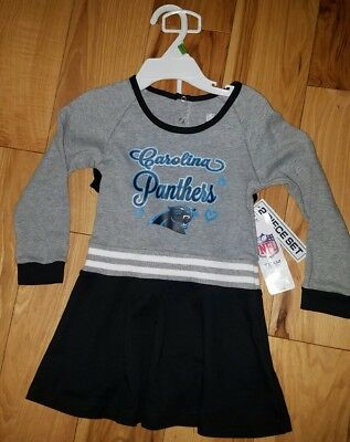 Girls Toddlers NFL Team Apparel Carolina Panthers Cheerleader Outfit  2-Piece 3T 328413aa2
