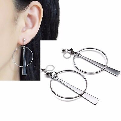 c05d32208 Modern Geometric Silver tone Hoop and Triangle Dangle Invisible Clip On  Earrings
