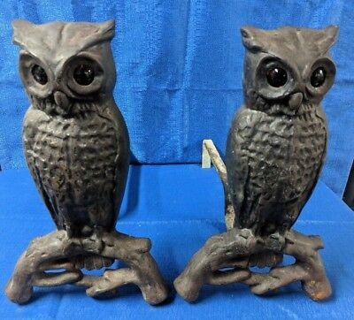 RARE VINTAGE SET OWL FIREPLACE ANDIRONS w/ FIERY AMBER GLASS EYES w/ stands
