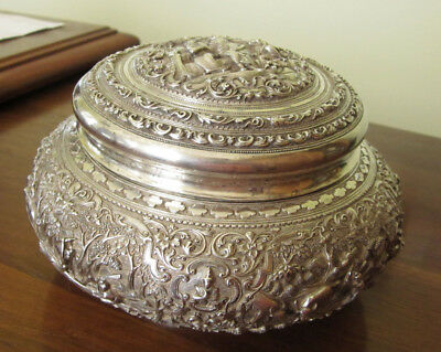 Burmese Thailand Mughal Sterling Silver Covered Box or Bowl 440 Grams
