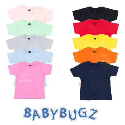 Baby Toddler T-Shirt Organic Cotton Poppers Plain Tee Soft Feel Comfort Cute New