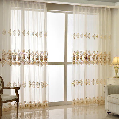 Luxury Window Curtains Simple Water Soluble Screen Embroidery Sheer Voile Window