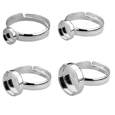 925 STERLING SILVER ROUND / OVAL ADJUSTABLE RING BLANK SETTING Various Sizes