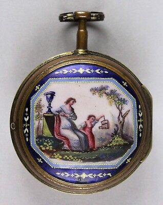 18Th Century French Scenic Enameled  Pocket Watch No Reserve
