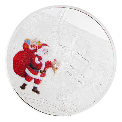Silver Plated Christmas Santa Claus Commemorative Coin Toys Festival Gifts