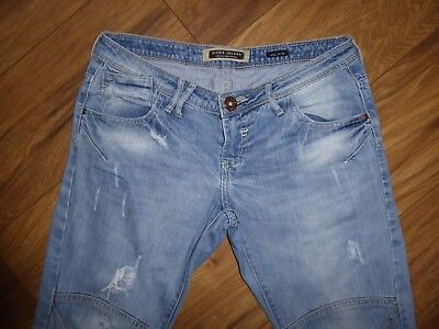 RIVER ISLAND  FALLOW YOUR DREAM combat blue ripped distressed  jean UK 10 R L 30