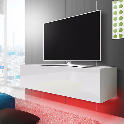 tv m bel lowboard tv schrank simple ii wei hochglanz led in rot h nged 140 cm eur 94 99. Black Bedroom Furniture Sets. Home Design Ideas