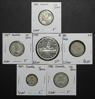 Lot of 6 SILVER Canadian Coins - Dimes, Quarters, and a Proof Like Dollar