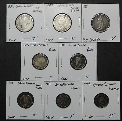 Lot of 8 SILVER Great Britain Coins Shillings, Florins, Pence - 1859-1919