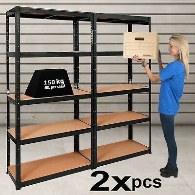 2x Bays 5 Tier Warehouse Garage Racking Storage Unit Metal Heavy Duty Shelving