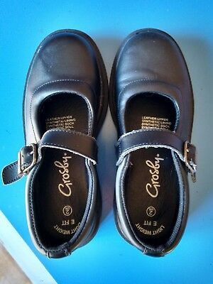 Crosby Leather Upper Girls Black School Shoes, Size 2E, Lightweight - VGC