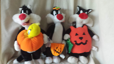 Lot #5  3 Sylvester the Cat Halloween Plush toys