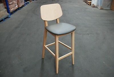 NEW Wooden Bar Stool with upholstered seat - pub bar hotel club