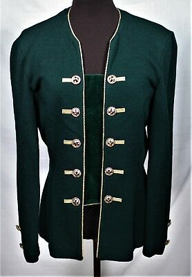ST. JOHN Collection by Marie Gray Green 10 Gold Button Santana Knit Jacket sz 10
