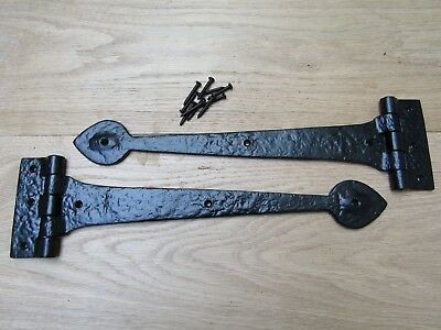 PAIR OF SPEAR HEAD cast iron door gate t tee hinges old English cottage style