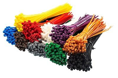 Cable Ties - Premium Strong Nylon Plastic Zip Tie Wraps - 46 Sizes & 10 Colours