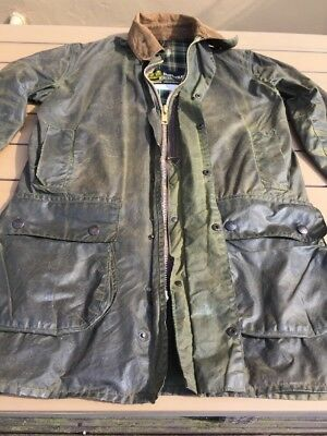 Barbour Wax Jacket Border C36 Green Vintage (Small Holes See Description