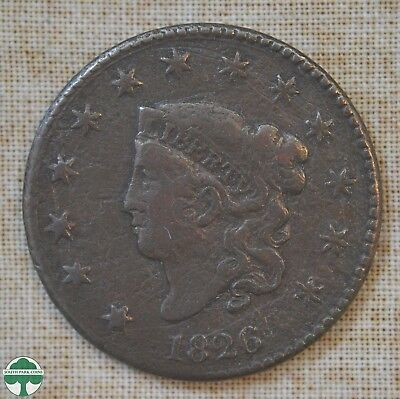 1826 Coronet Head Large Cent - Very Good Details - Pitted