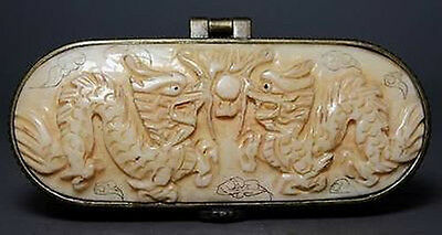 Chinese Handwork Carving Twins Dragon Old Jewel Box