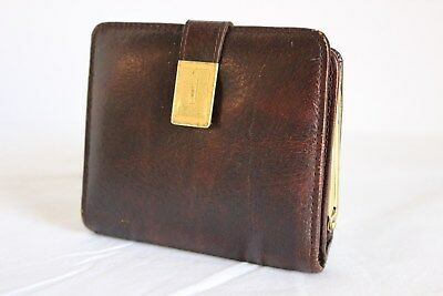 Vintage ladies brown real leather bifold clasp fasten coin purse 70s