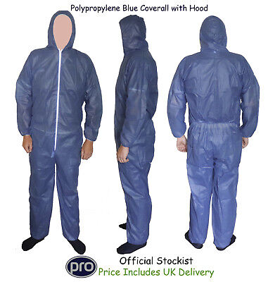 Strong Disposable Hooded Polypropylene Coveralls Overalls Boiler Suit Painters