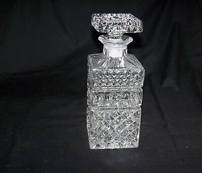 "Vintage Lead Crystal Cut Glass Square Decanter Bohemian? 24 oz. 9"" High"