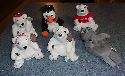 Brand New Set of Six 1997 Coca Cola Beanbag Bears Seal Penguin For Dog Charity