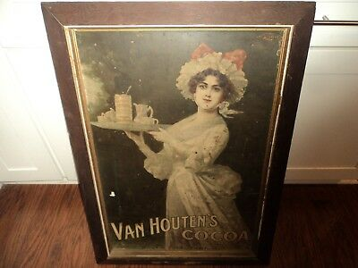 Antique Framed Late 1800's Lady w/ Tray Advertising Sign VAN HOUTEN'S COCOA Ad