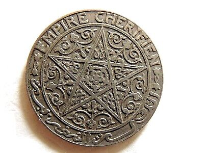 "1924 Morocco One (1) Franc Empire Cherifien ""Pentagram"" Thunderbolt Coin"