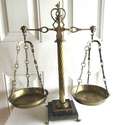 Vintage Huge Brass Balance Scale W/marble Base Figural Heads Great For Display